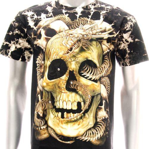 Dragon Skull T-shirt Tattoo STUD o49 Survivor Skeleton RYU Fatboy Biker Lover