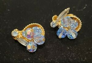 Vintage Gold Tone Dangle Clip On Earrings With Orange Faceted Glass WK# 171