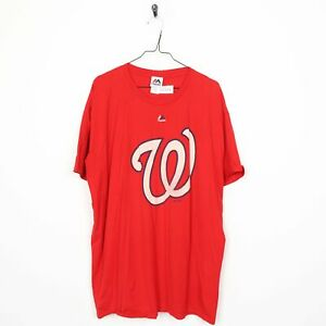 Vintage Majestic USA T Shirt Tee Big Logo Rouge | 2XL