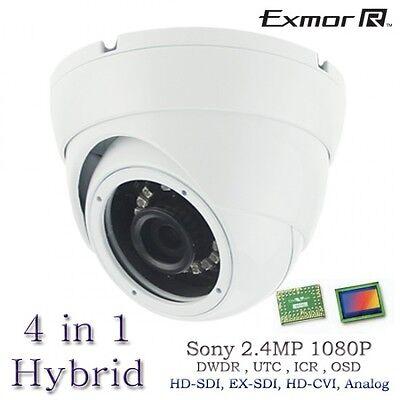 2.4MP 1080p Quad-Hybrid AHD//HD-TVI//CVI//960H Eyeball IR Dome Camera 2.8mm White