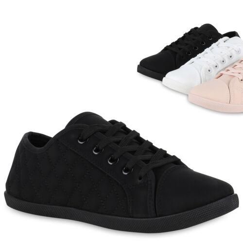 Damen Sneaker Low Gesteppte Turnschuhe Schnürer Freizeit Schuhe 825895 Trendy