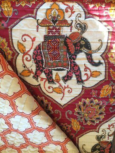 BOHEMIAN ELEPHANT JACOBIAN FLORAL BURGUNDY GOLD 3PC KING QUILT SET TASSLE PILLOW