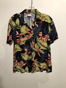 Go-Barefoot-Multi-Colored-Short-Sleeve-Hawaiian-Shirt-Small-Made-In-USA