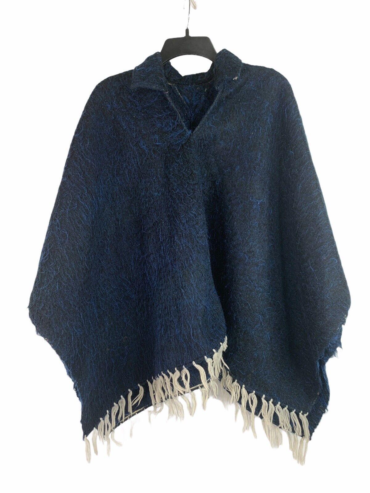 Vintage Poncho With Fringe Spanish Blue Alpaca Wool Boho Central South America