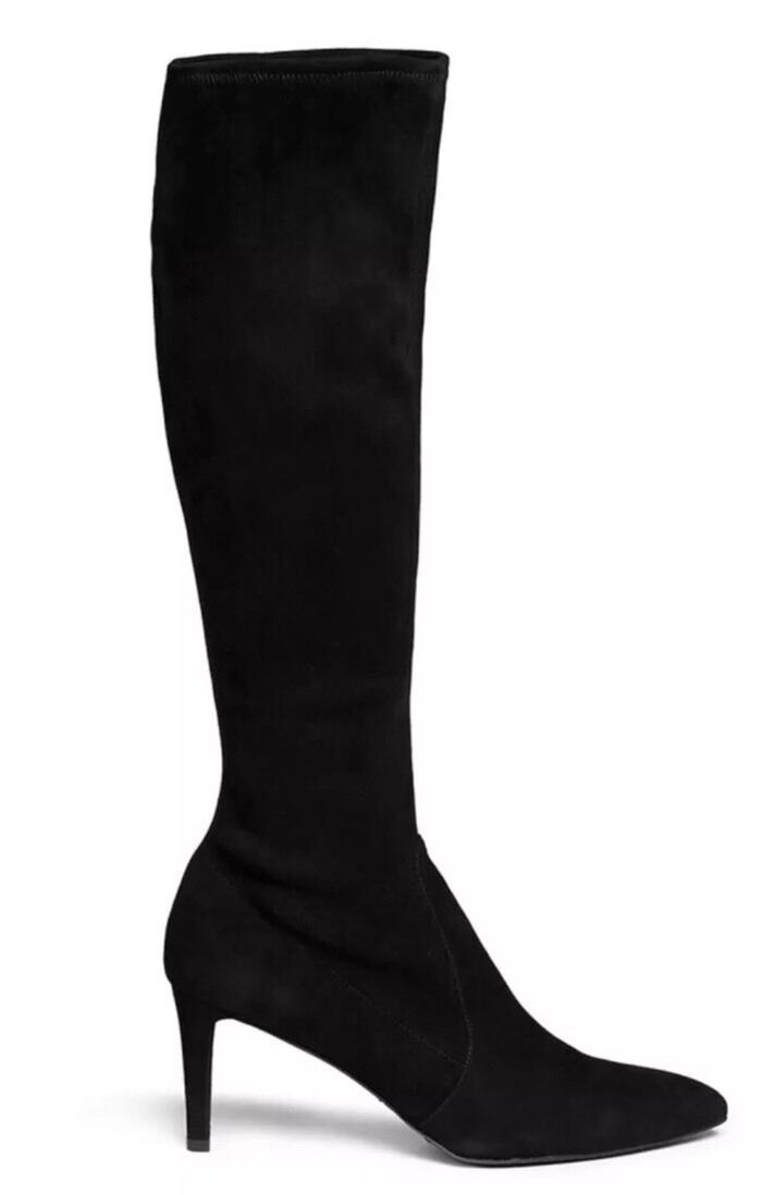 STUART WEITZMAN COOLBOOT CHIC BLACK SUEDE STRETCH KNEE HIGH HEEL 10 NEW