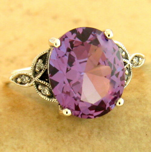 6 CTTW COLOR CHANGING SIM ALEXANDRITE 925 STERLING SILVER VICTORIAN RING #1173