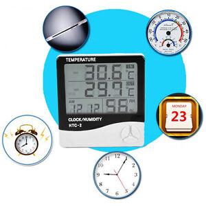 digital lcd innen au en temperatur thermometer hygrometer luftfeuchtigkeit uhr ebay. Black Bedroom Furniture Sets. Home Design Ideas