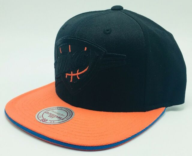 9642722e71f OKC Oklahoma City Thunder Mitchell Ness Blackout NBA Basketball Snapback  Cap Hat