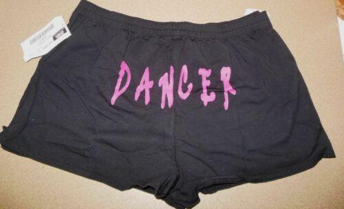 NWT BLACK Cotton spandex Dance SHORTS Cheer  Adult Sizes $15 retail LA// XLA left