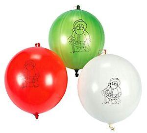24 Santa Punch Balloons Balls Christmas Holiday Party Favors Red green /& white