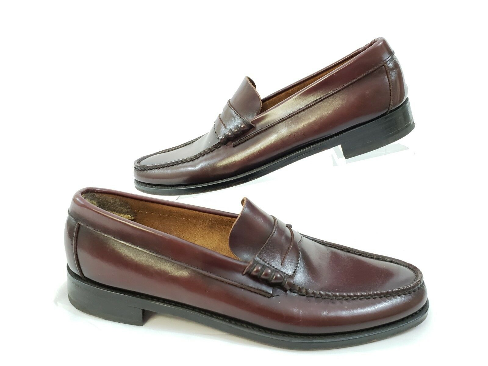 Florsheim Mens 10A Narrow Burgundy Brown Penny Loafers shoes Slip On 30068 EUC