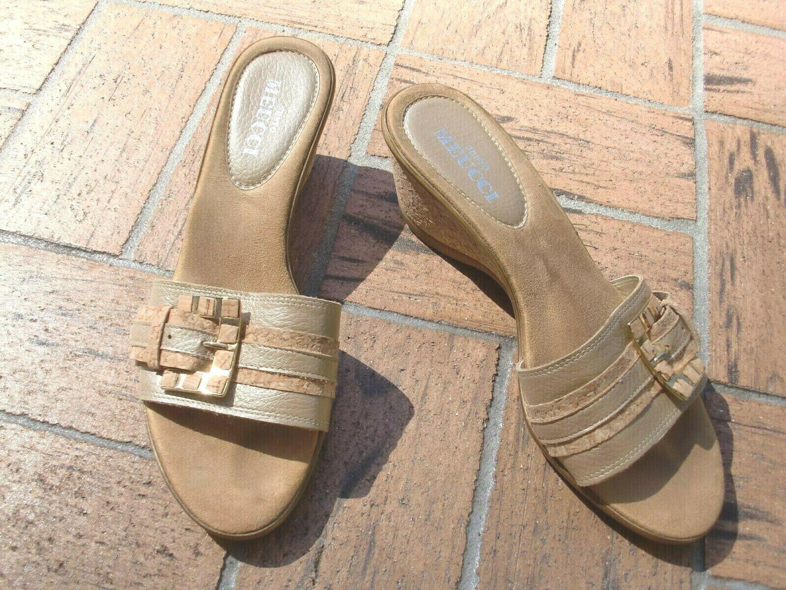 SESTO MEUCCIITALYgold Slides Leather Strap  Wadges Sandals size 38.5EUR 9US