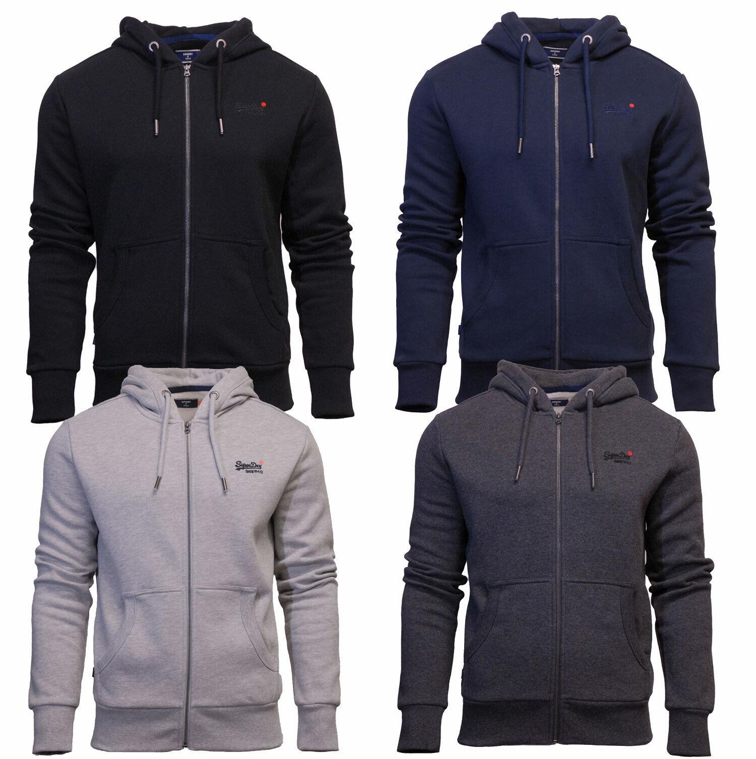 Superdry Mens New Orange Label Long Sleeve Full Zip Hoody Black Navy Dark Grey
