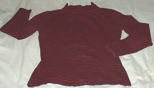 ANN TAYLOR Women's Small Red Black Stripe Stretch Cotton Mock-T LS Tee Shirt EUC
