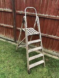 Details About Vintage Wooden Step Ladders Shabby Chic Decorative Garden Plants Display