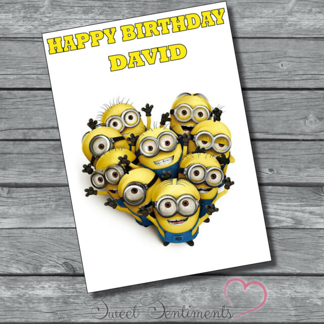 Personalised Minions Despicable Me  Birthday Card  A5 Large