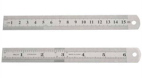 """7 x Stainless Steel Engineers 6/""""//150mm Double Sided ruler"""