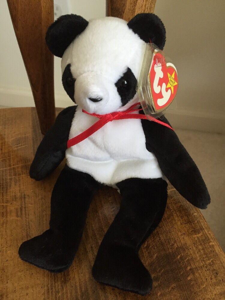 Ty Beanie Baby  Fortune  Panda Bear Retired 12 6 1997 Tush Error 1998