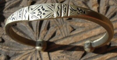 Moroccan hand engraved tarnished silver colour bracelet