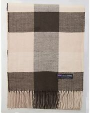 100% Cashmere Scarf Brown Check Tartan Square Plaid SCOTLAND Wool Women R92