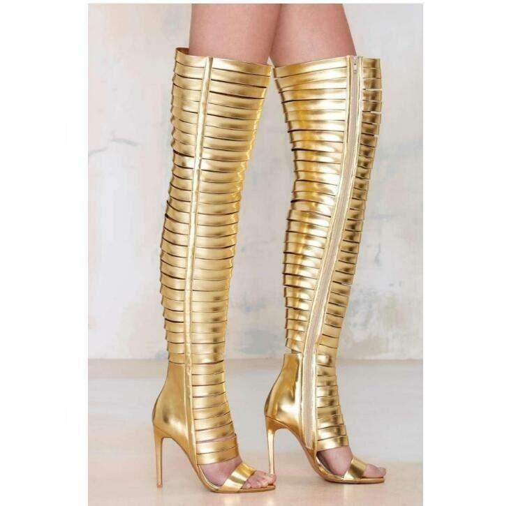 Gladiator Womens High Heels Over Knee Thigh Boots Leather Nightclub Shoes HOT