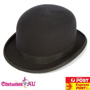 Mens-Bowler-Derby-Hat-Felt-Black-Charlie-Chaplin-50s-60s-Party-Adult-Blend-Cap