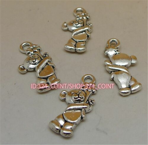 50pc Tibetan Silver bear Charm Beads Pendant accessories wholesale P1149B