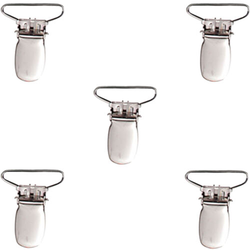New Metal Holder Insert Pacifier Polished Nickel Suspender Clips Mitten 1/""