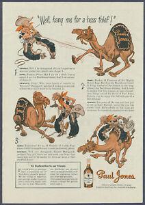 Cowboy Wrangles Camel Paul Jones Whiskey Vintage Print Ad 1943