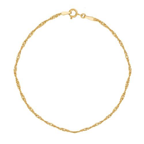 14k Véritable or Singapour Sparkle Cheville Bracelet 25.4cm