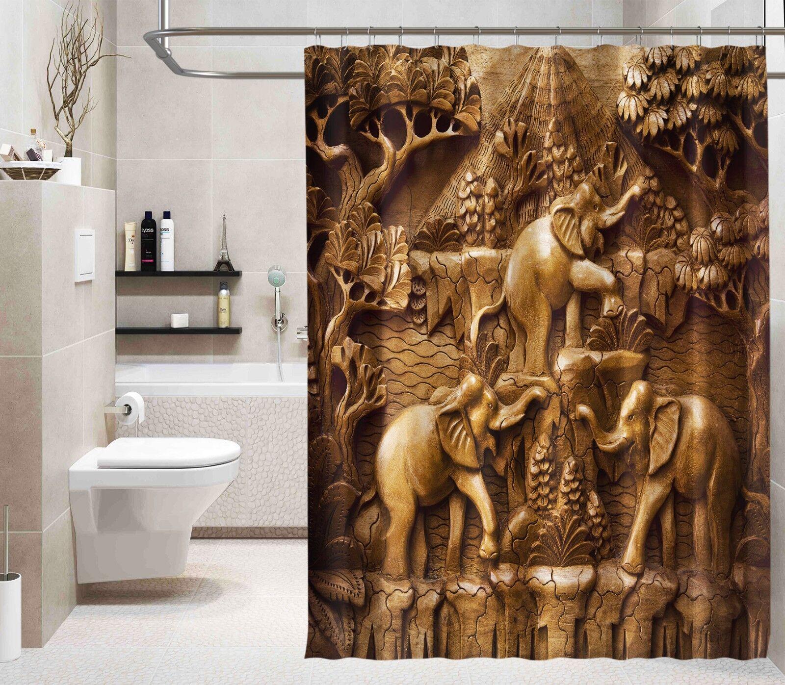 3D Elefant Baum 22 Duschvorhang Wasserdicht Faser Bad Daheim Windows Toilette DE   Ermäßigung