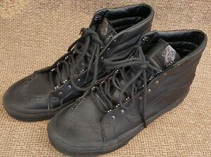 Hi negro de cuero mujer Wall Remaches Slim Tamaño 6 Zapatos The Sk8 5 Off para Vans 78cznwv