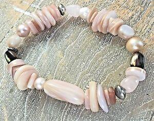 Silpada-925-Sterling-Silver-Pink-Shell-Pearl-Quartz-Stretch-Bracelet-B1775