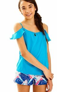 0bc174649c26ad NEW Lilly Pulitzer Girls Layne Knit Cold Shoulder Top Sparkling Blue ...