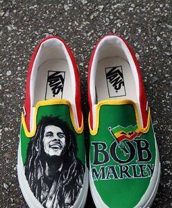 Vans Slip On Senza Lacci Bob Marley Disegnate Printed Custom Jamaica