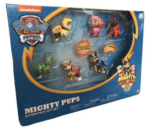 NEW Paw Patrol Mighty Pups 6pc Action Pack Gift Set with Light Up Badges Paws