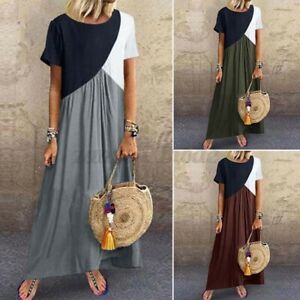 ZANZEA-Womens-Summer-Short-Sleeve-Crew-Neck-Sundress-Ladies-Maxi-Dress-Kaftan