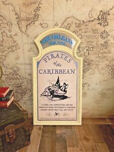 COMPLETE-Pirates-of-the-Caribbean-Attraction-Sign-Prop-Frame-Mirror-Walt-Disney
