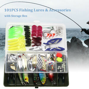 108Pcs Fishing Lures Spinners Plugs Spoons Soft Bait Pike Trout Salmon Box Kit