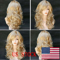 Women Middle Long Curly Wig Cosplay Party Masquerade Blonde Synthetic Hairs