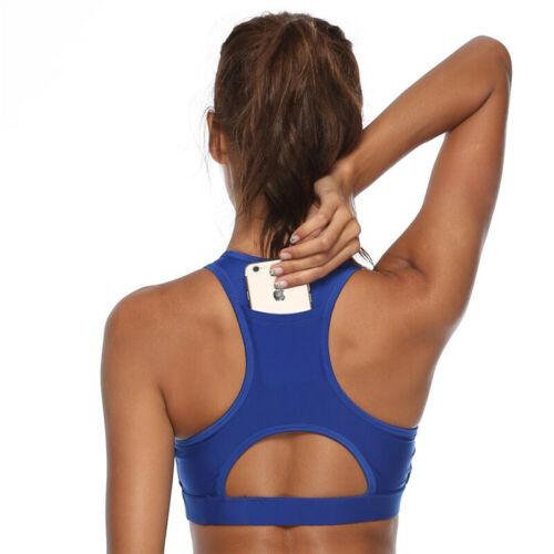 Women Racerback Sports Bra Yoga Fitness Workout  Gym Tank Top with Phone Pocket