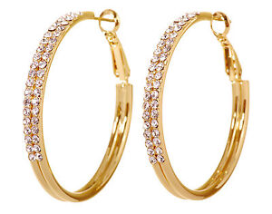 Swarovski-Elements-Crystal-Double-Row-Hoop-Pierced-Earrings-Gold-Authentic-7222v