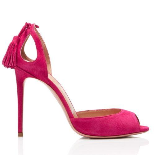 Details about  /Women/'s Tassel Stiletto High Heels Pumps Suede Clubwear Party Peep Toe Shoes