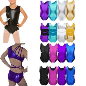 Image is loading Girls-Kids-Child-Leotard-Dance-Ballet-Gymnastics-Metallic- d6a54c4f739
