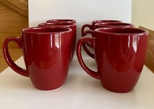 Lot-of-6-Red-Corelle-Coordinates-Stoneware-Coffee-Mug-Tea-Cup