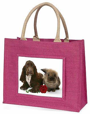 Cocker Spaniel mit rotem Rose Große Rosa Einkaufstasche Weihnachten Prese,