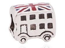 SILVER LONDON BUS DOUBLE DECKER CHARM BEAD UNION JACK pd Bracelet  beads charms