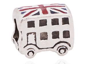 Silver London Bus Double Decker Charm Bead Union Jack Pd