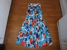 TALBOTS white sundress with aqua floral design size 4