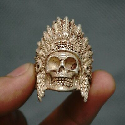 Chinese old bone hand carve beast head man ring size 11/' China antique ring